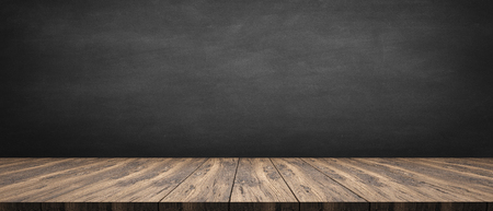 rustic wooden table with grey background