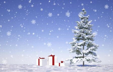 merry christmas theme with snow flakes - Illustration Archivio Fotografico - 125585188