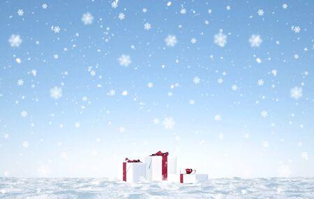 merry christmas with snow flakes - Illustration Archivio Fotografico - 125585041