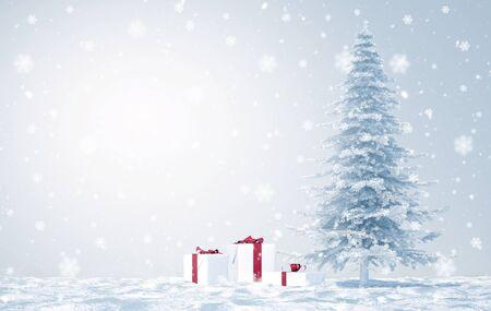 merry christmas with snow flakes - Illustration Archivio Fotografico - 125585049