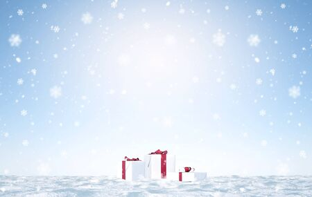 merry christmas with snow flakes - Illustration Archivio Fotografico - 125585052