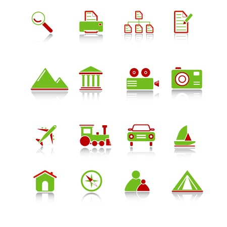 Travel icons with reflection, green-red series Stock Vector - 10376418