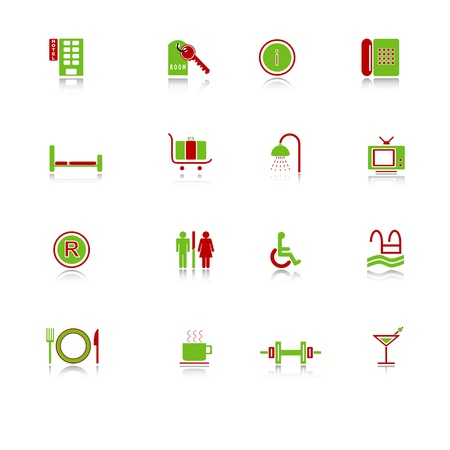 Hotel icons with reflection, green-red series Illustration