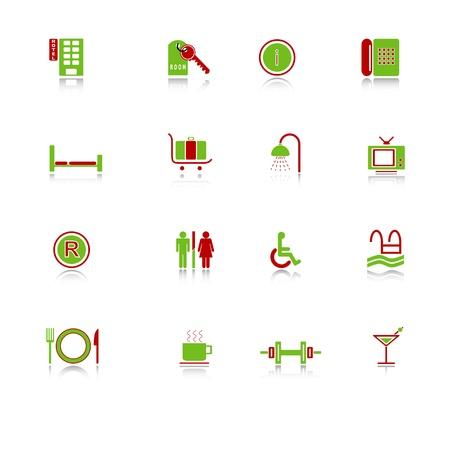 dumbell: Icone di albergo con riflessione, serie verde-rosso