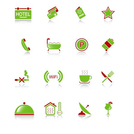 Hotel icons with reflection II, green-red series Stock Vector - 10376420