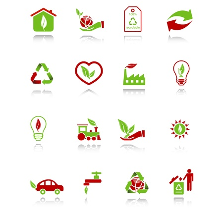 wastepaper basket: Set of environmental computer icons with reflection - green-red series. Illustration