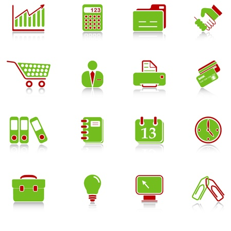 Business icons with reflection, green-red series