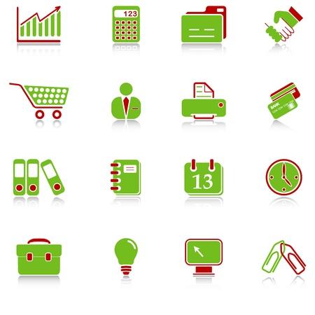 faxger�t: Business-Ikonen mit Reflexion, gr�n-rot-Serie