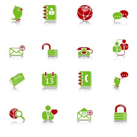 tweet icon: Iconos sociales medios & blog con reflexi�n, verde y rojo de serie
