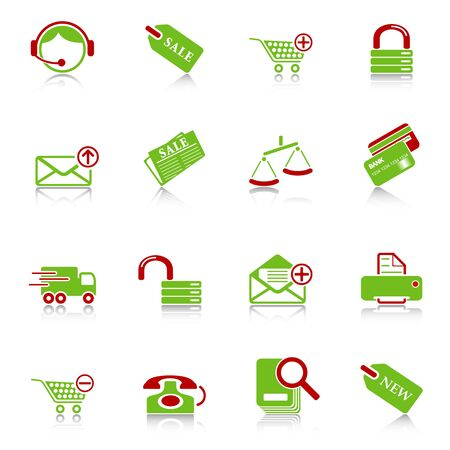 add to shopping cart icon: Sale and shopping icons with reflection, green-red series Illustration
