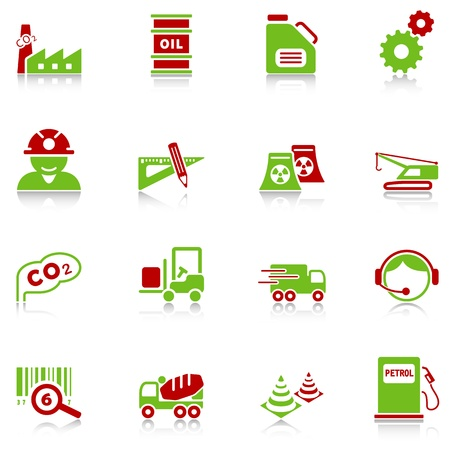 work station: Industry icons with reflection, green-red series Illustration