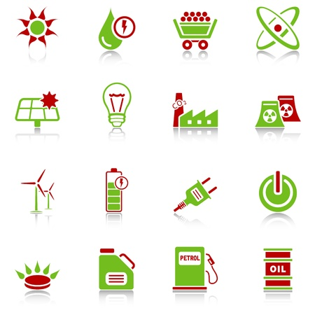 Energy icons with reflection, green-red series Illustration