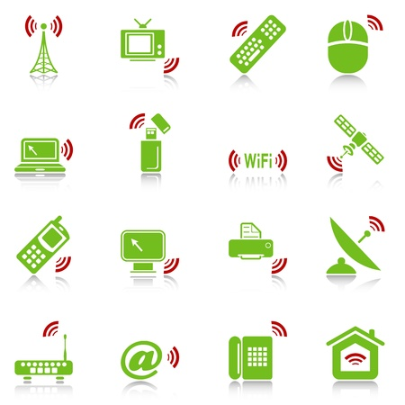 Wireless devices icons with reflection, green-red series