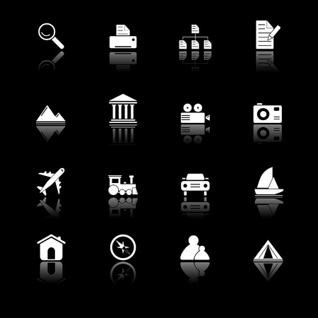 Photo and travel icons with reflection, black series Illustration