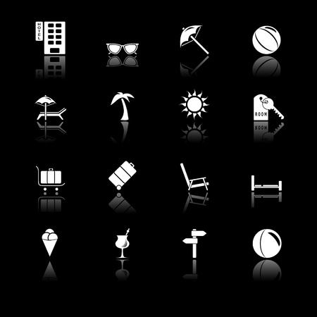 directions icon: Travel icons with reflection, black series Illustration