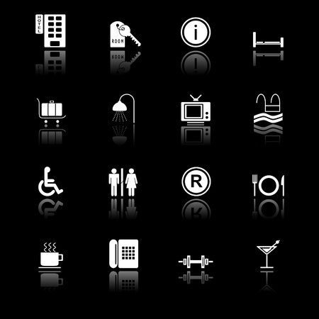 hotel icons: Hotel icons with reflection, black series