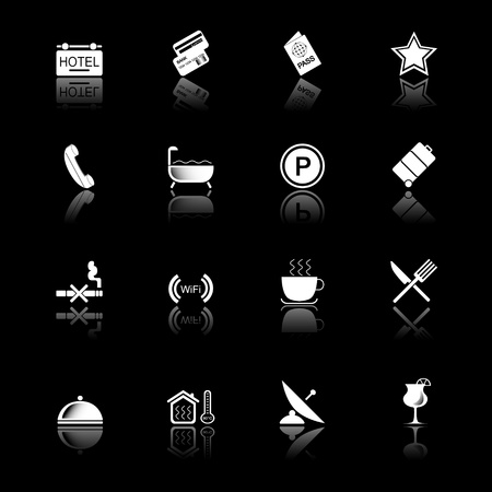 Hotel icons with reflection, black series Vector