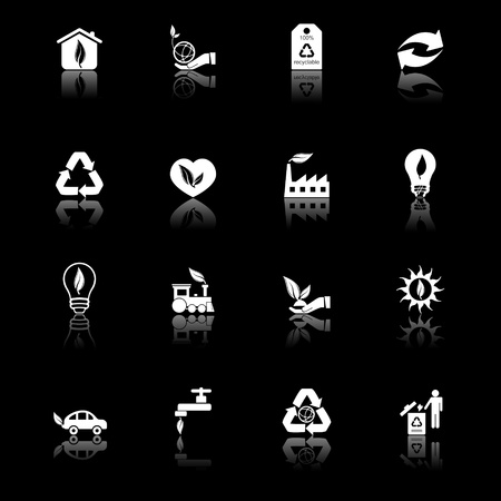 Environmental icons with reflection, black series Vector