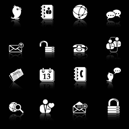 contact book: Social media and blog icons with reflection, black series
