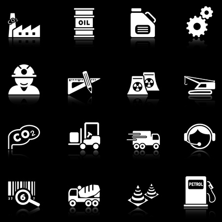 Industry icons with reflection, black series Vector