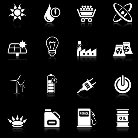 Energy icons with reflection, black series Vector