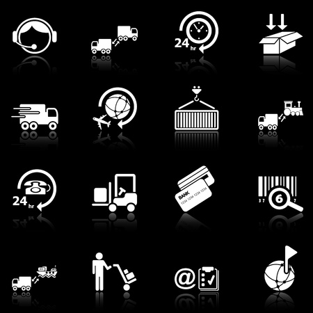 Logistics icons with reflection, black series Vector