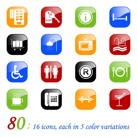reception hotel: Hotel icons, color series Illustration