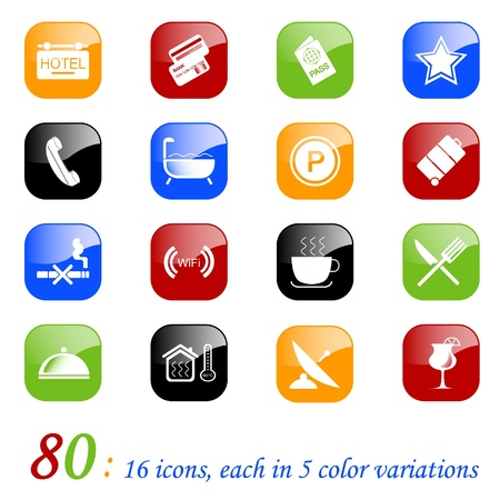 hotel icon: Hotel icons, color series Illustration