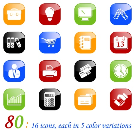 fax machine: Business icons, color series