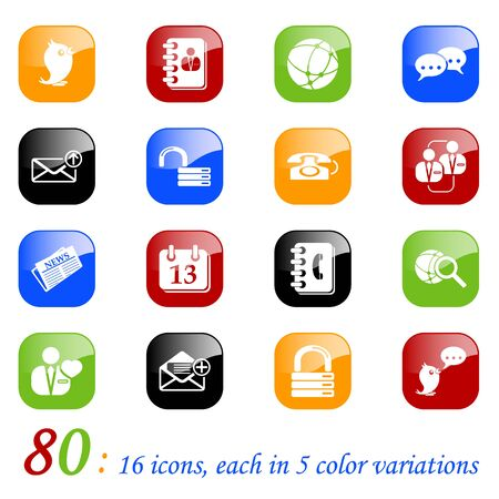 Social medial & blog icons, color series Illustration