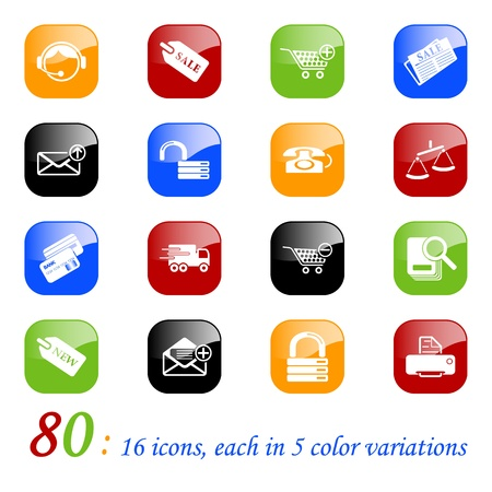 Sale and shopping icons, color series