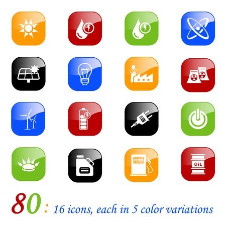 iconos energ�a: Los iconos de la energ�a, la serie de color Vectores