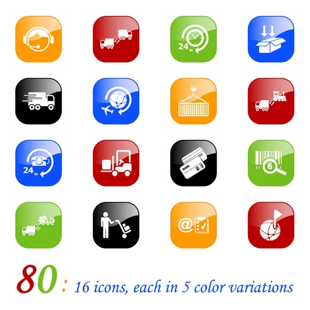 empacar: Log�stica y transporte iconos, series de colores Vectores