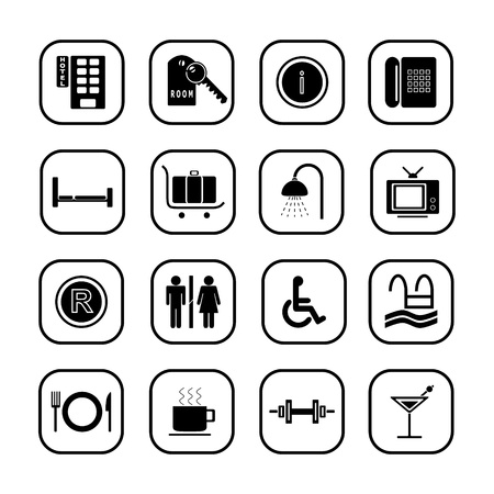 Hotel icons I, B& W series Vector