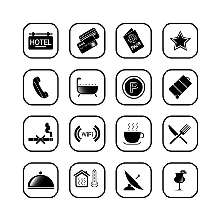 Hotel icons II, B&W series Vector