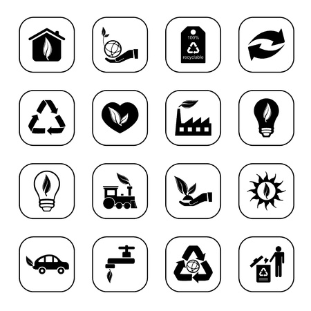 Environmental icons, B&W series Stock Vector - 10744135