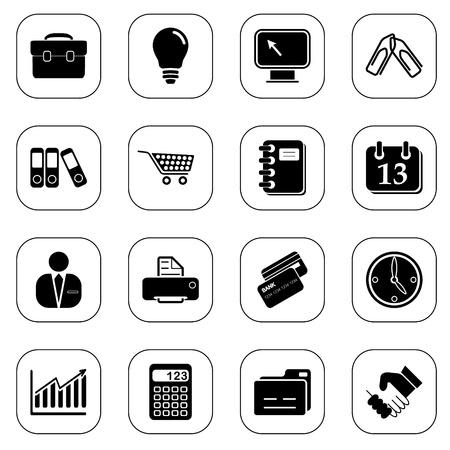 rekenmachine: Business icons, B & W-serie Stock Illustratie