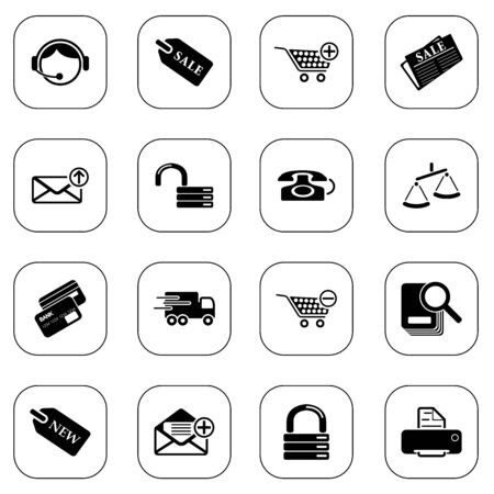 Sale and shopping icons, BW series Vector