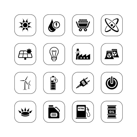 Energy icons, BW series