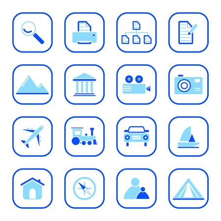photo icons: Travel and photo icons, blue series