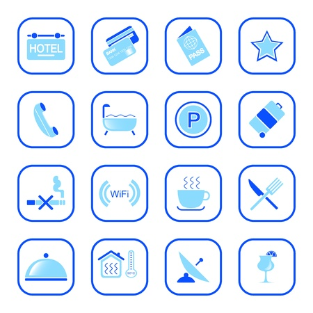 Hotel icons, blue series