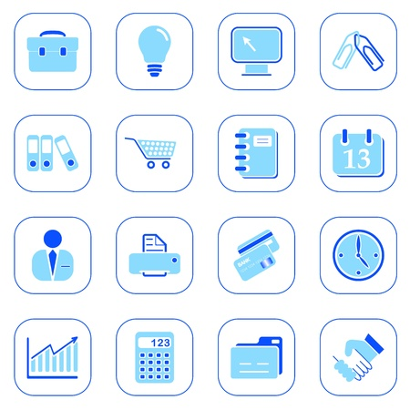Business icons, blue series
