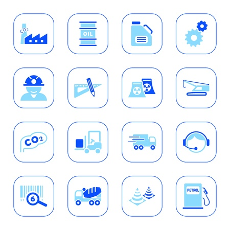 Industry icons, blue series Vector