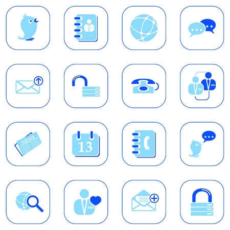 Social media & blog icons, blue series