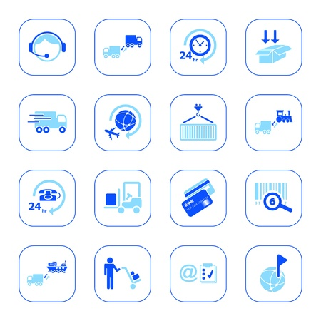 Logistics icons, blue series Vector