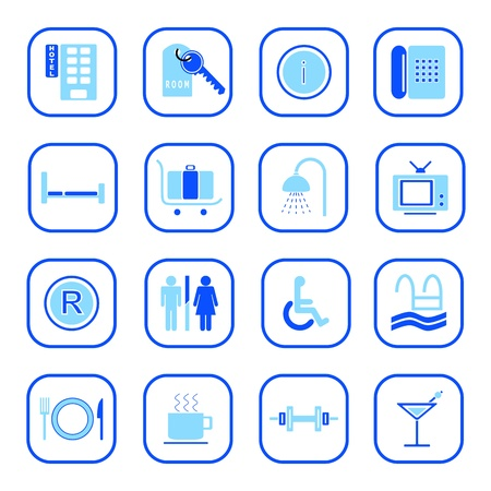 Hotel icons II, blue series Stock Vector - 10804849