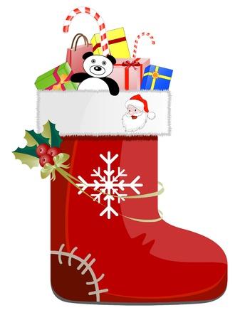 botas de navidad: Detallada de zapatos con regalos de Navidad