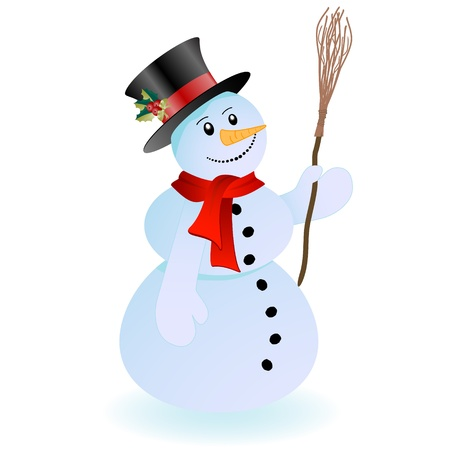 Smiling snowman with hat and broom