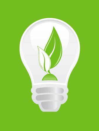 growing inside: Lightbulb with leaves growing inside