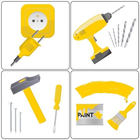 Haushalt und Reparatur-Werkzeug Arbeit Vektorgrafik